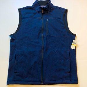 Izod Medium Navy Full Zipper Vest New D21